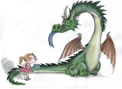Девушка и огнедышащий дракон   Рисунки девушек   291x400